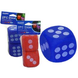 "96 of Dice Eva 2pc 2.5x2.5""red, Blue Clr"