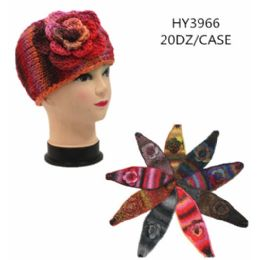 60 of Ladies Multicolored Winter Head Band With Flower