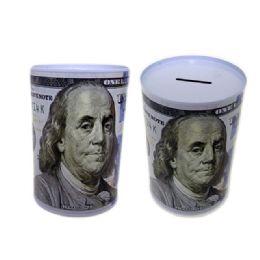 """48 of Coin Bank, Saving Tin, Us $100 Bill, 3.9""""dia X 5.9""""h"""