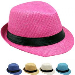 24 of Children Assorted Colors Fedora Hat With Black Band