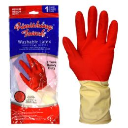 72 of Latex Glove Hd 2 Tone Medium