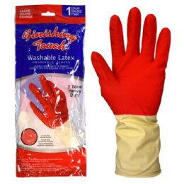72 of Latex Glove Hd 2 Tone Large