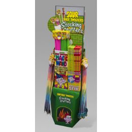 136 of Candy Sour Face Twister Stocking Stuffer Center 136pc Floor Disp Big Stick,sour Powder,magic W