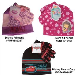 24 of Assorted Dora And Friends Disney Pixar's Cars And Disney Princess Hat And Gloves Sets