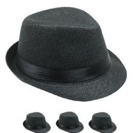 24 of Kids Black Fedora Hat With Black Band