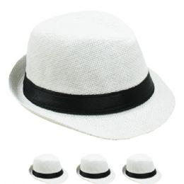 24 of Children White Fedora Hat With Black Band