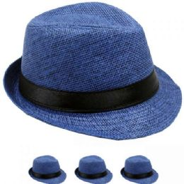 24 of Children Blue Fedora Hat With Black Band