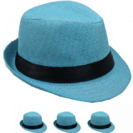 24 of Children Turquoise Fedora Hat With Black Band