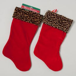 72 of Stocking Red Velvet W/plush Leopard Cuff
