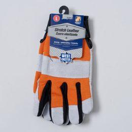 48 of Gloves Stretch Leather Large Spandex Back Grey/orange