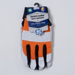 48 of Gloves Stretch Leather Medium Spandex Back Grey/orange