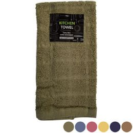72 of Kitchen Towel 15inx25in 100% Cotton 6 Asstd Solid Colors