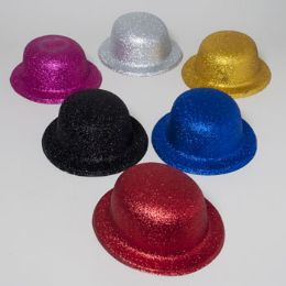 108 of Derby Hat W/glitter 6ast Colors Silver/gold/blue/pink/black/red Plastic Upc Label