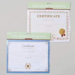 144 of Award Certificates 10pk 11x8.5in 2asst Styles Gov Polybag/header