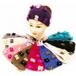 24 of Rhinestone Cute Bows Knitted Ear Band Headbands