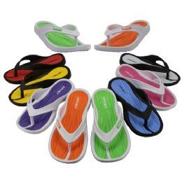48 of Girl's Sport Multi Colors Flip Flops