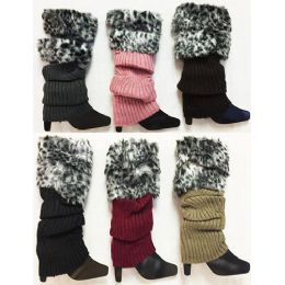 24 of Knitted Faux Leopard Printed Fur Bootcover Leg Warmer