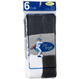 36 of Boy's Crew Socks Assorted Size 4-6