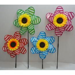 "36 of 14"" Double Wind Spinner [stripes & Sunflower]"