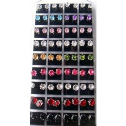 6 of 36 Pairs Multicolored Round Earring Studs In Display