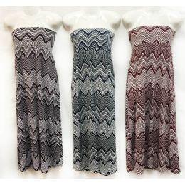 12 of Chevron Print Maxi Skirts Assorted