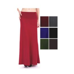 96 of Womens Long Solid Color Skirts In Assorted Colors