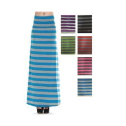 96 of Women's Long Striped Skirt In Assorted Colors
