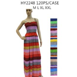 48 of Ladies Long Summer Sun Dresses Stripes Assorted Colors