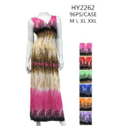 48 of Ladies Long Summer Sun Dresses Assorted Colors