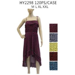 48 of Women's High Low Polka Dot Sundress Assorted Color