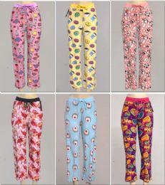 24 of Women's Assorted Print Pj Pants, Size S-xl