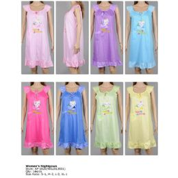 72 of Ladies Sleeveless Summer Nightgown Assorted Styles