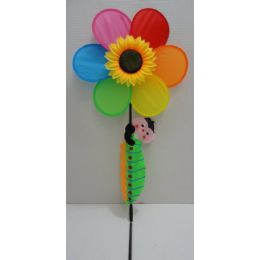 "60 of 14"" Rainbow/sunflower Wind Spinner W Crawling Caterpillar"