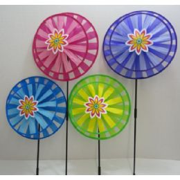"36 of 13"" Round Double Wind Spinner W Flower"