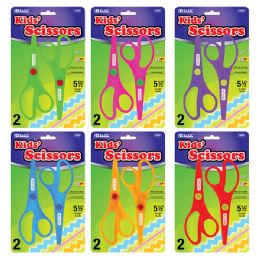 """144 of Bazic 5 1/2"""" Fluorescent Safety Scissors (2/pack)"""