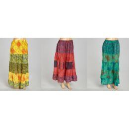 12 of Maxi Skirt Abstract Print Adjustable Waist Tie Assorted