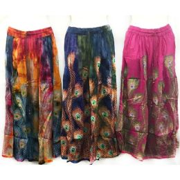 12 of Adjustable Waist Tie Peacock Print Skirt