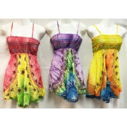 12 of Girls Rayon Tie Dye Dresses With Smocked Top Assorted Size Small