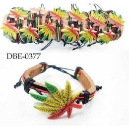 96 of Leather Bracelet With Large Marijuana