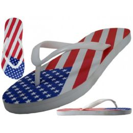 48 of Women's Us Flag Printed Fip Flops