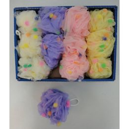 36 of Mesh Bath Sponge with PomPoms