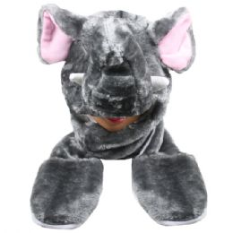 24 of Cute Elephant Animal Character Builtin Paws Mittens Hat