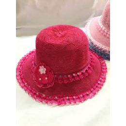24 of Girls Dress Hat With Flower Assorted Colors