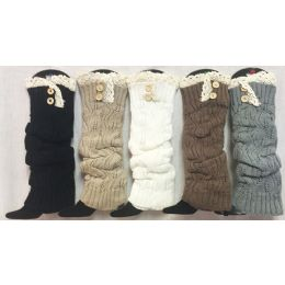 12 of Solid Color Knitted Long Boot Topper Crochet Top Button