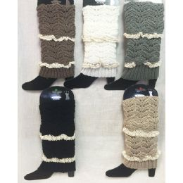 24 of Solid Color Knitted Boot Topper With Double Crochet Top