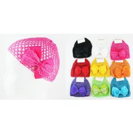 96 of Kids' Crochet Hats With Bow In Assorted Colors