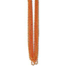 60 of 33 Inch 7mm Metallic Bead Necklaces - Orange 12ct