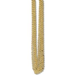 60 of 33 Inch 7mm Metallic Bead Necklaces - Gold 12ct