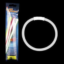300 of 8 Inch Retail Packaged Glow Bracelets - White