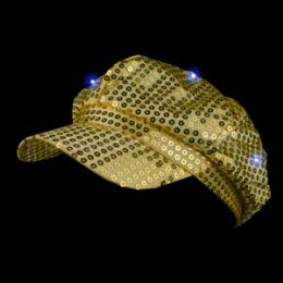 72 of LED Sequin Newsboy Hat - Gold